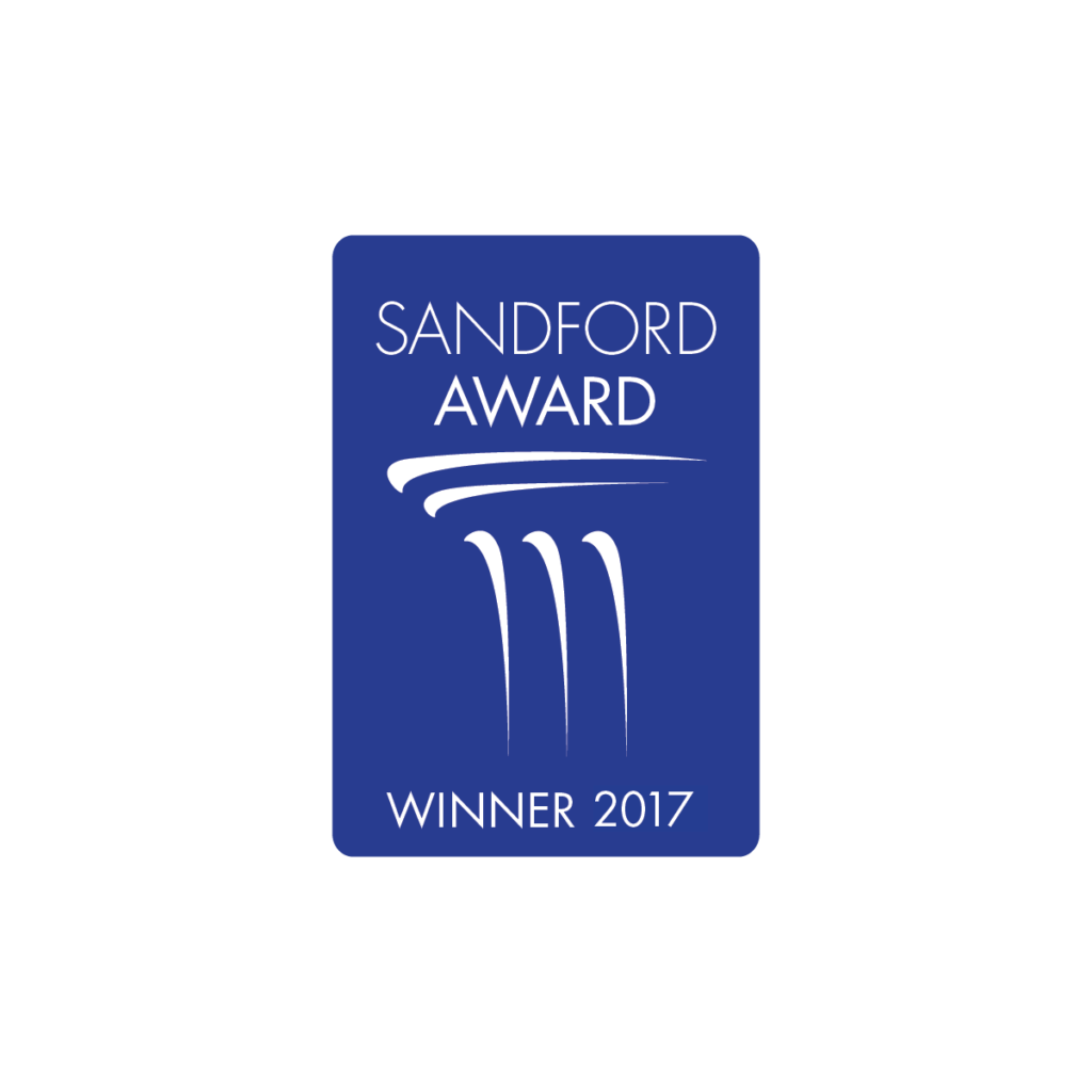 "Blue logo with white writing saying ""Sandford Award Winner 2017"""