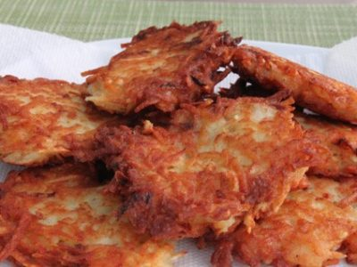 Close up image of latkes