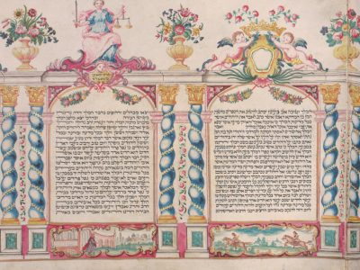 Page of a Megillah Scroll with two columns of Hebrew text surrounded by columns, floral motifs, cherubs, and figure of Justice