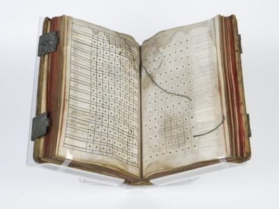Old book open on stand, faded pages with boxes with holes and string