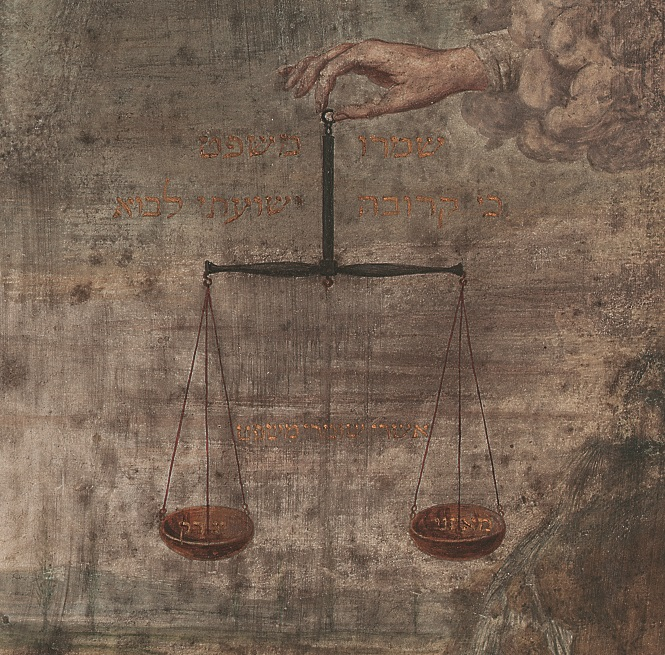 hand coming out of cloud of smoke holding scales, painting