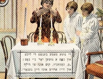 woman dressed in brown waving her hands over two lit candles on a table, two children dressed in white on right