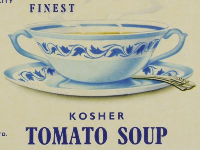 Drawing of white and blue bowl and saucer with the words Kosher Tomato Soup