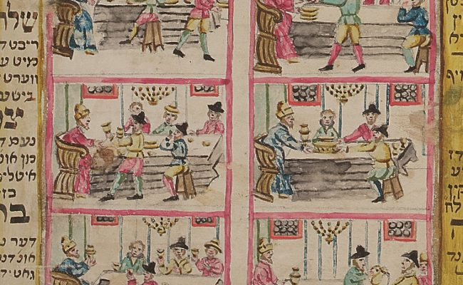 Close up of 6 hand painted tiles showing a family setting the table for Passover