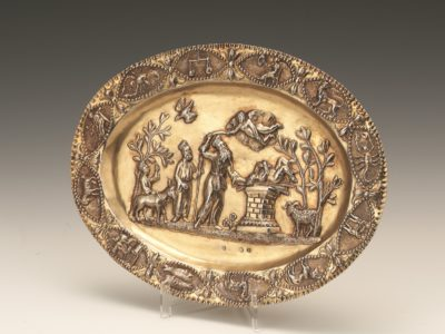 Silver Gilt oval shaped dish.