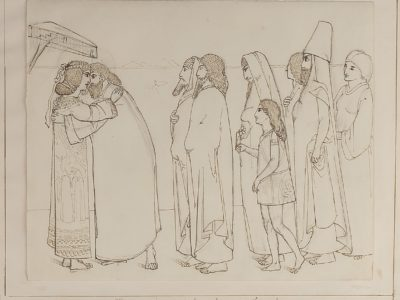 A drawing of Jacob and Joseph embracing one another. Many people gather behind Jacob.