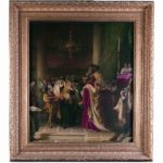 Framed painting of the interior of a synagogue with men holding and parading Torah scrolls