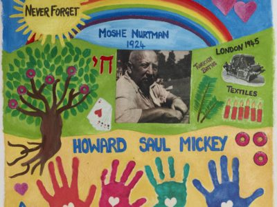 Handmade painted square, black and white photograph of a man on a colourful background, four handprints at bottom, tree of life on left, rainbow and sun with words Never Forget above