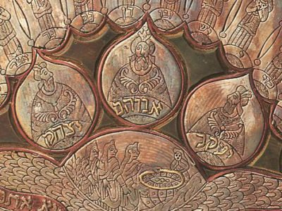 Close up of Brass Passover plate showing 3 patriarchs