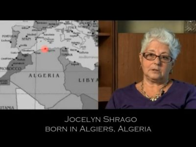 Map of Algeria next to photograph of Jocelyn