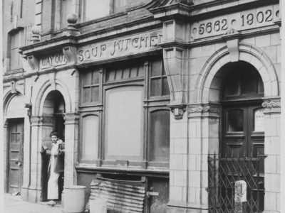 Black and white photograph of the exterior view of the Soup Kitchen