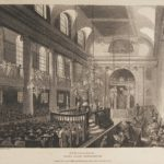 Engraving of the interior of Great Synagogue at Duke's Place by Pugin and Rowlandson, 1809, from the Jewish Museum London collection
