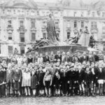 Young survivors of the Holocaust, gathered in Prague shortly before departing for England.