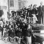 Children from Norwood departing on their annual taxi drivers' outing, 1934, from the Jewish Museum London collection