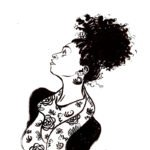 A black and white drawing of a woman with dark curly hair wearing a floral print shirt and a dark cardigan