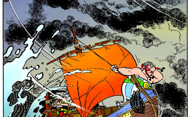 Cartoon of Asterix and Obelix on a boat at sea in a storm