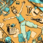 A drawing of a woman lying on a bed in blue and orange pyjamas and surrounded by various different items including a laptop and a guitar