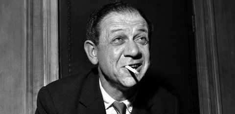 Black and white photo of Sid James