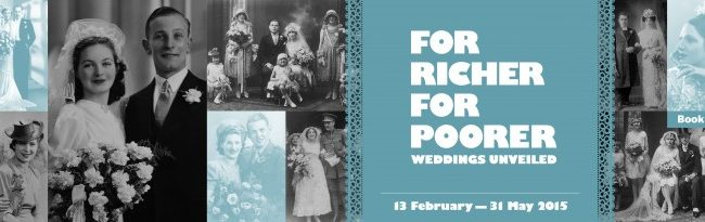 Collage of images of couples getting married for the exhibition For Richer For Poorer at the Jewish Museum London