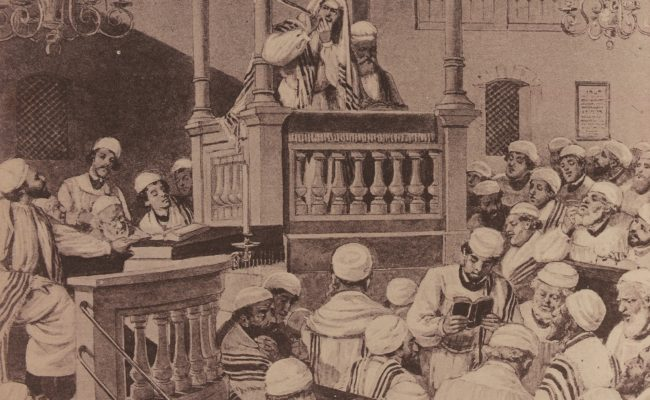 sketching of men in a synagogue dressed in white