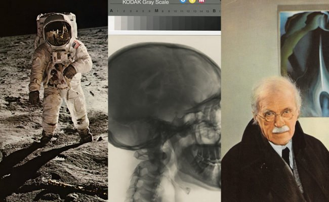Three pictures showing an astronaut and a skull