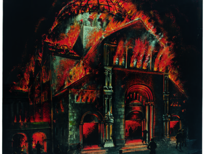 Painting of synagogue burning. Red flames
