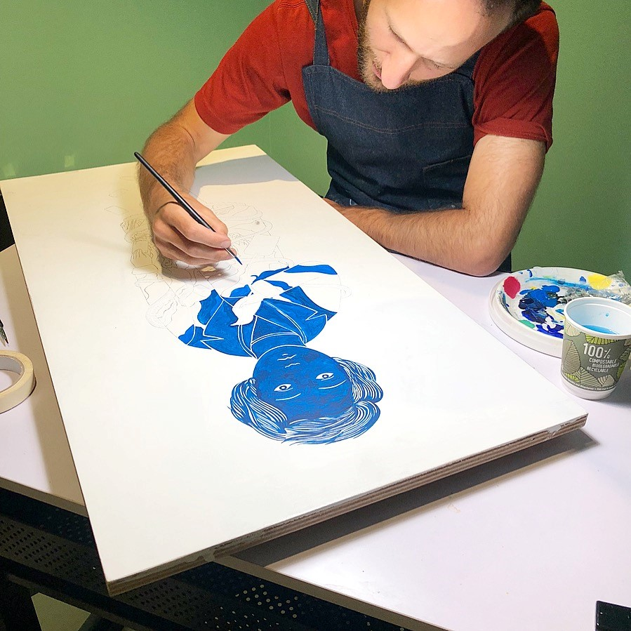 Artist-in-Residence Tom Berry working at the Jewish Museum London