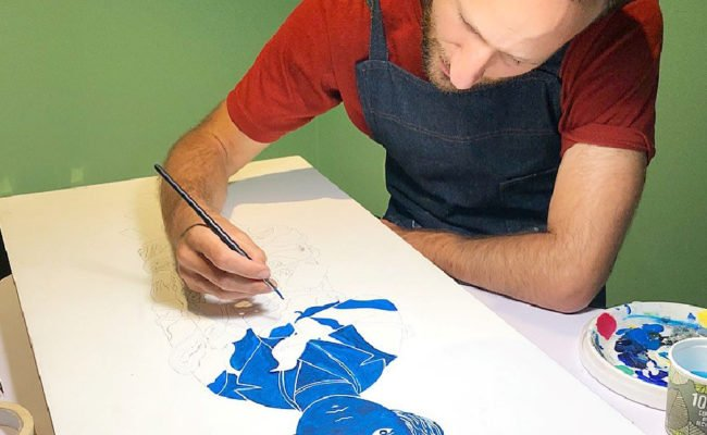 Artist-in-Residence Tom Berry working at the Jewish Museum London as part of the Kindertransport exhibition