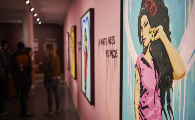 Interior of Amy Winehouse exhibition