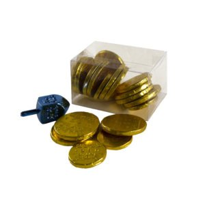 Plastic box containing gold chocolate coins and blue driedl