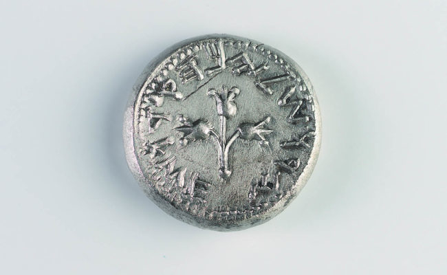 Silver coin with pomegranate plant centre and wording around the edge