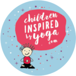 Blue circle with a drawing of a child in yoga pose and red logo reading 'Children Inspired by Yoga'