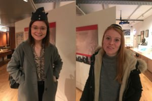 Two young adult females trying on Jewish costume