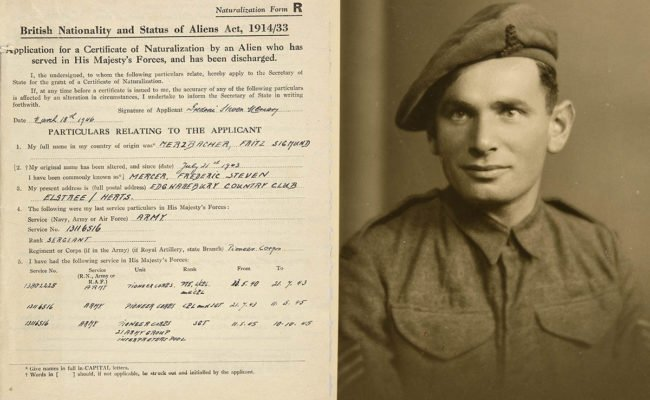 Documentation and photograph of F S Mercer - male in army uniform