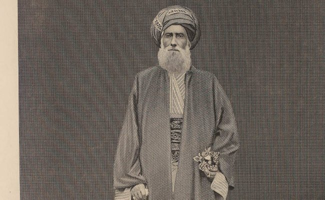 David Sassoon, in long beard, turban and arabic style dress