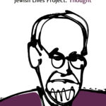Jewish Lives Thought. Cartoon line illustration of Freud .