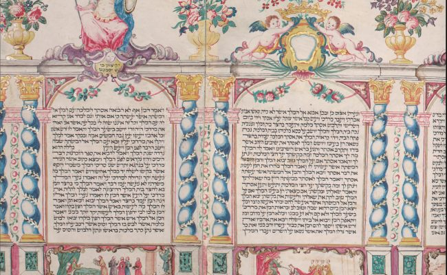 A scroll with black Hebrew text on it and painted images surrounding it