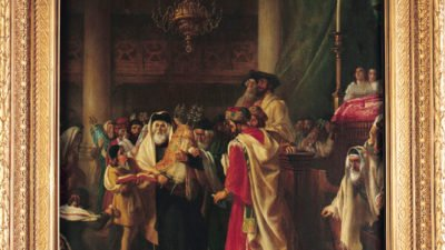 A painting of a group of people looking at a Torah scroll