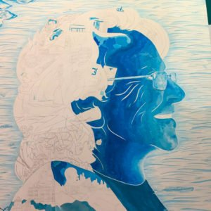A portrait of a woman painted with blue paint