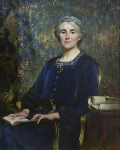 A painting of a woman in a blue dress