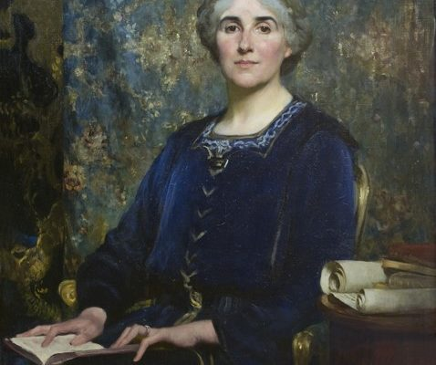 A painting of a woman in a blue dress sat against a dark green background