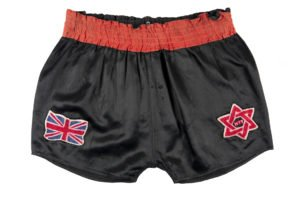 A pair of black and red shorts