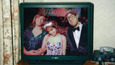 TV screen showing comedians, The Rimmers