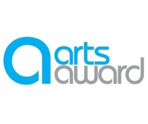 large blue lower case letter a with the words arts award