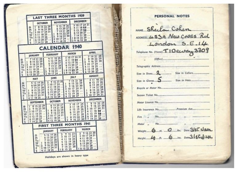 Personal Notes page from Sheila Brull's 1940 diary